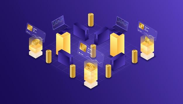 Kryptowährung, bitcoin, ethereum, cardano, blockchain, bergbau, technologie, internet-iot, sicherheit, isometrisches illustrations-cpu-computer mit web-dashboard