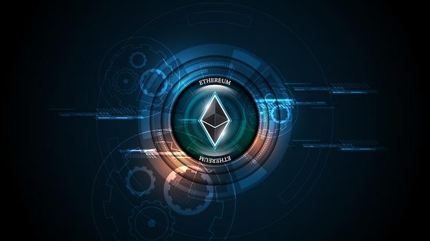 Kryptowährung blockchain ethereum-konzept für die digitale geldnetzwerkverbindungstechnologie