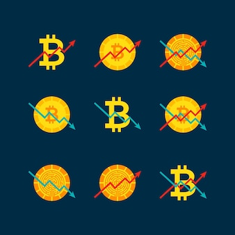 Kryptowährung nach oben nach unten diagramm. vektor-illustration mit finanzdiagrammobjekten.