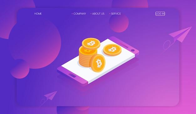 Kryptowährung und blockchain auf smartphone-konzept