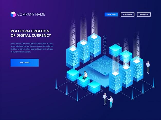 Kryptowährung und blockchain. digitale währung für die plattformerstellung. web business, analytics und management.