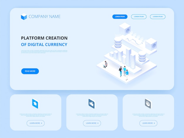 Kryptowährung und blockchain. plattformerstellung der digitalen währung. header für website. business, analytics und management.