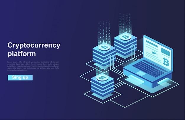 Kryptowährung und blockchain. plattformerstellung der digitalen währung.