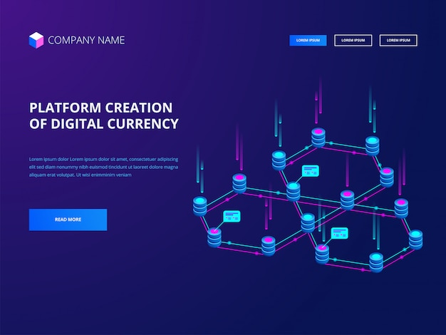 Kryptowährung und blockchain, plattformerstellung einer banner-landingpage für digitale währungen