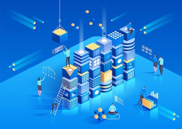 Kryptowährung und isometrische blockchain-zusammensetzung mit menschen