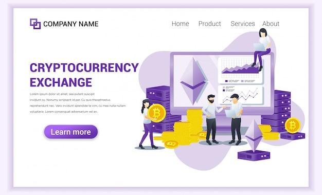 Kryptowährungs-austauschkonzept mit den leuten, die an bildschirm für austausch von bitcoin und von digitalen währungen arbeiten