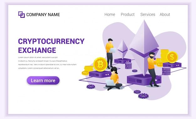 Kryptowährungs-austauschkonzept mit den leuten, die an laptop für austausch von bitcoin und von digitalen währungen arbeiten