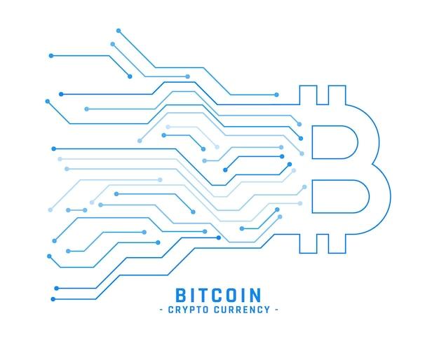 Kryptowährungs-bitcoin-hintergrund mit stromkreislinien