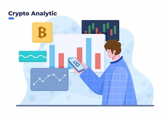 Kryptowährungs-handelsanalyse mit mobiler smartphone-vektorillustration krypto-investitionskonzeptillustration kryptowährungsbörsenmarkt