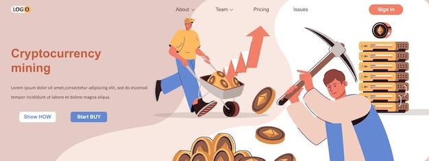 Kryptowährungs-mining-webkonzept-geschäftsleute machen digitales geld zur einkommenssteigerung