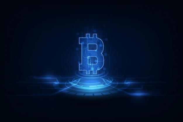 Kryptowährungs-vektorhintergrund digital bitcoin. bitcoin-vektorillustrationshintergrund