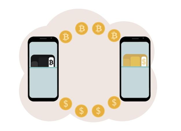 Kryptowährungsaustausch- und speicherkonzept. mobil mit abbildung von plastikkarten für kryptowährung und währung.