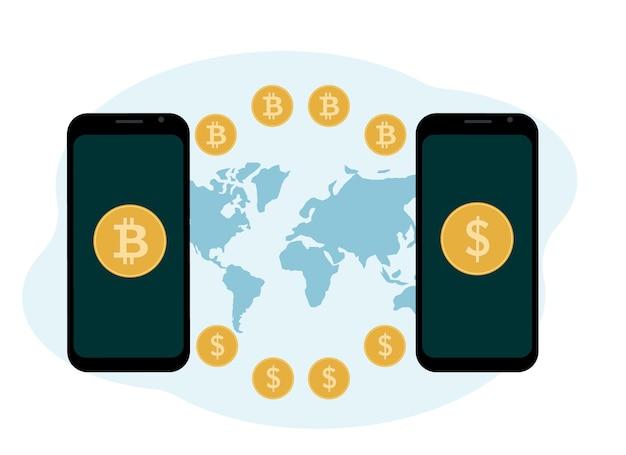 Kryptowährungsaustausch- und speicherkonzept. mobil mit kryptowährung und münzen illustration. vektor-illustration
