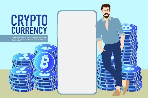 Kryptowährungshandelskonzept kryptomünzen