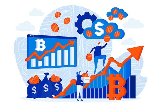 Kryptowährungsinvestitions-webdesignkonzept mit personenzeichen