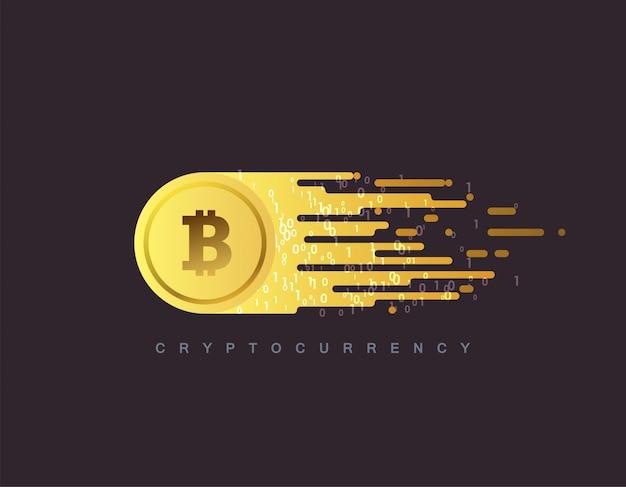 Kryptowährungskonzept. goldene münze mit bitcoin-zeichen. flache illustration mit blockchain-technologie-basierter kryptowährung.