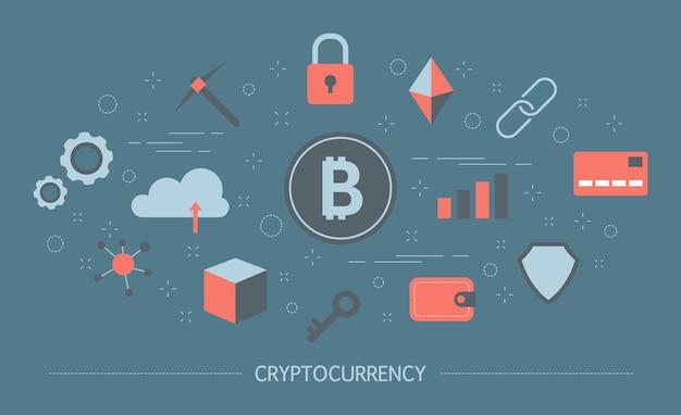 Kryptowährungskonzept. idee von blockchain und bergbau. finanziere reichtum und digitales geld verdiene. futuristische technologie. satz bunte symbole. illustration