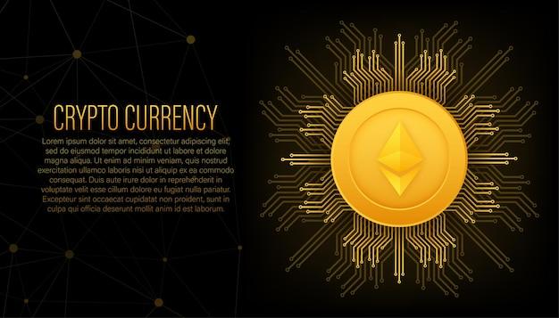 Kryptowährungslogo etherium im flachen stil auf goldenem hintergrund vektordesign isoliert