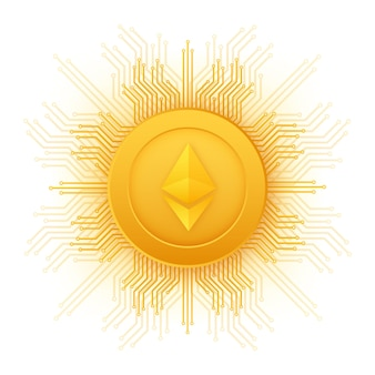 Kryptowährungslogo etherium im flachen stil auf goldenem hintergrund