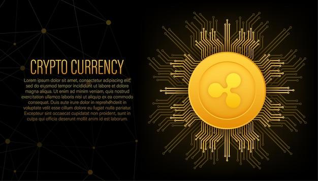 Kryptowährungslogo ripple im flachen stil auf goldenem hintergrund