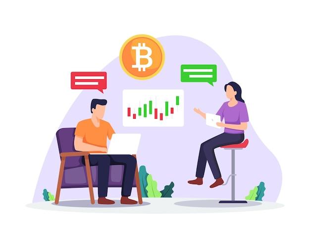 Kryptowährungsmarktplatz-illustrationsleute analysieren diagramm digitale geldanlage und handel
