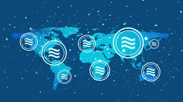 Kryptowährungssymbol der waage auf globalem hintergrund