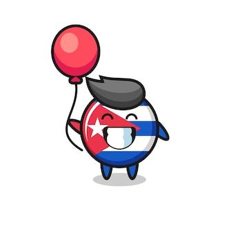 Kuba-flagge-abzeichen-maskottchen-illustration spielt ballon, niedliches design für t-shirt, aufkleber, logo-element Premium Vektoren