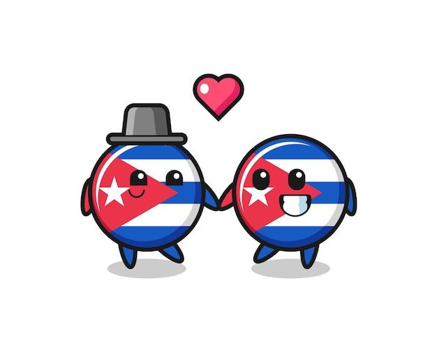 Kuba-flaggenabzeichen-cartoon-charakterpaar mit verliebtheitsgeste, süßem stildesign für t-shirt, aufkleber, logo-element