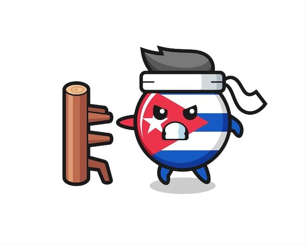 Kuba-flaggenabzeichen-cartoon-illustration als karate-kämpfer, süßes stildesign für t-shirt, aufkleber, logo-element