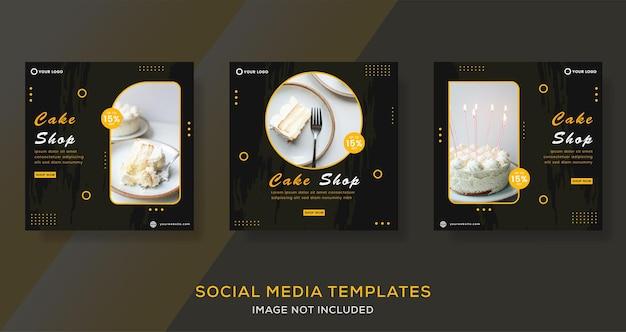 Kuchen-banner-geschichten-post-vorlage für social-media-premium-vektor