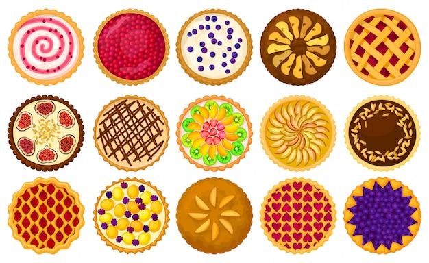Kuchen draufsicht cartoon set symbol