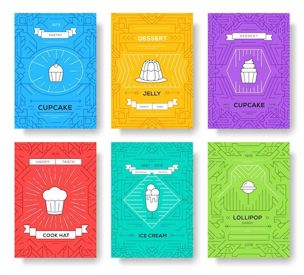 Kuchen dünne linie broschüre kartensatz