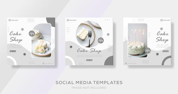 Kuchen-lebensmittel-banner-vorlagen-post-premium-vektor