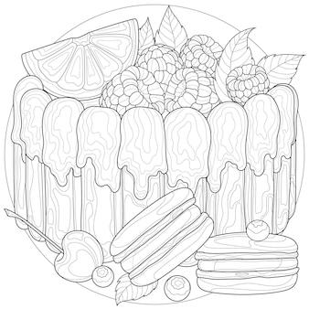 Kuchen mit himbeere, orange, kirsche, heidelbeere und mandel. süßigkeiten. färbung antistress für kinder und erwachsene. abbildung isoliert auf weißem hintergrund. zen-wirrwarr-stil.
