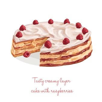 Kuchen mit himbeeren