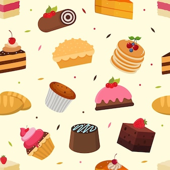 Kuchen nahtloses muster mit varian kuchen vektorgrafik