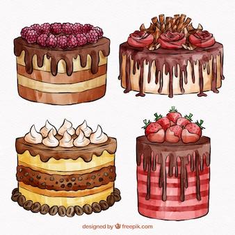 Kuchen sammlung im aquarell-stil