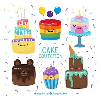 Kuchen sammlung mit sahne und beeren