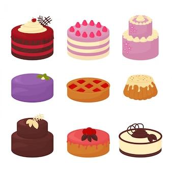 Kuchen setzen symbole im flachen stil der karikatur. illustrationssammlung von hellen bunten kuchen mit schokolade und sahne, torte und brötchen auf weißem hintergrund.
