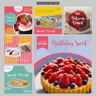 Kuchen-social media-beitragsdesignschablone