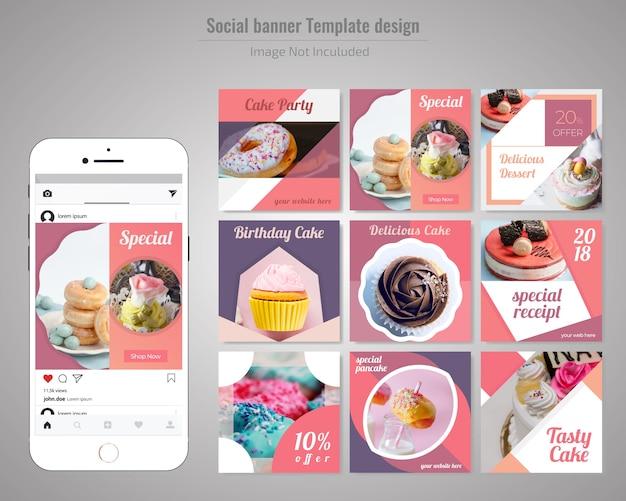 Kuchen social media beitragsvorlage