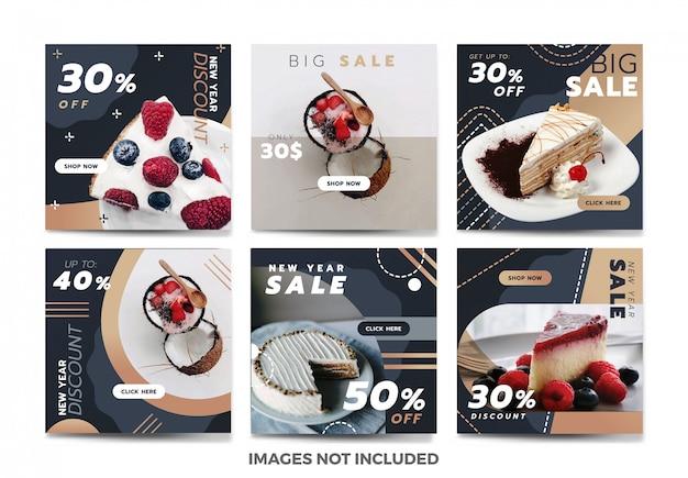 Kuchen-social media-fahnen-schablonensammlung