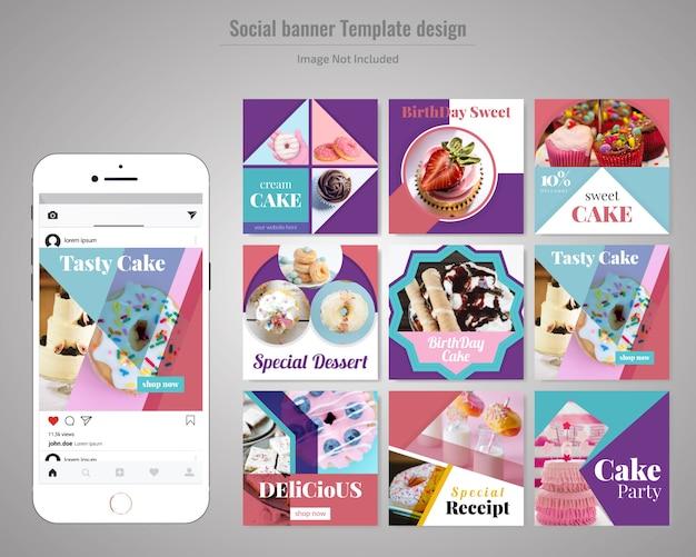 Kuchen-social media-post-vorlage