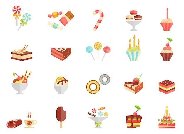 Kuchen süßigkeiten und eiscreme ikonen mit verschiedenen scheiben und keilen des kuchens