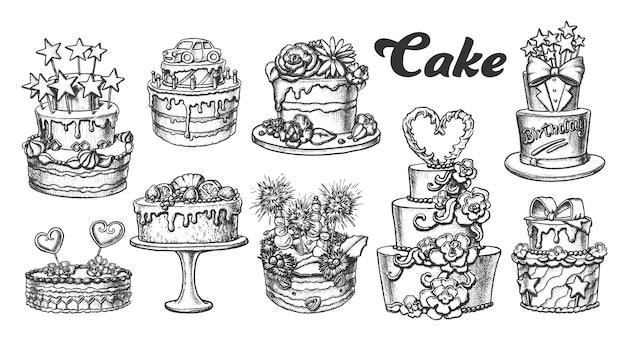 Kuchen-torten-köstliche sammlungs-retro- satz