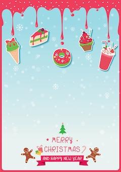 Kuchen und eiscreme verziert für weihnachtsfeiertage