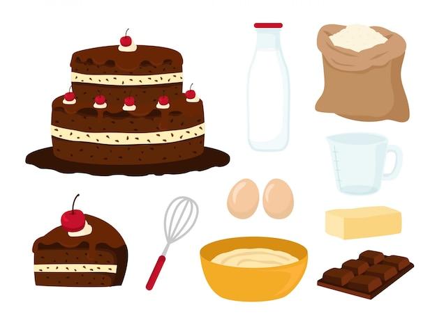 Kuchen und kuchen mit zutaten in scheiben schneiden