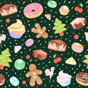 Kuchen, weihnachtsbaum, baiser, kirsche, cupcake donut lebkuchenmann süßigkeiten makronen