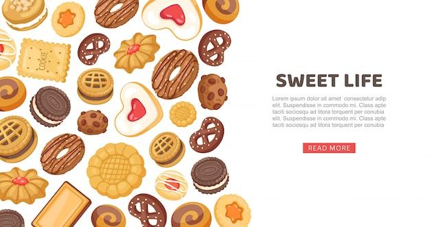 Kuchenbanner, süße lebensillustration. keks, cupcake süßes gebäck, köstliche webseite. zuckerdessert-set