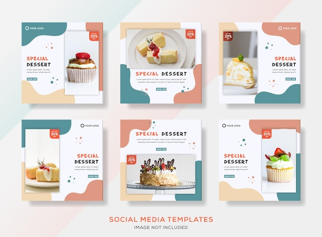 Kuchenbannersammlung für social-media-post.